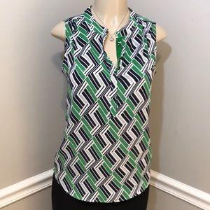 BANANA REPUBLIC Navy & Green Sleeveless Top Size 4